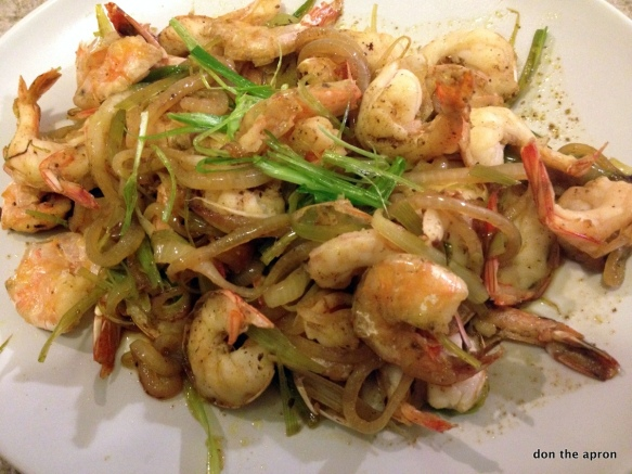 Shrimp and green garlic stir fry